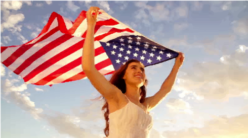 woman with american flag lipservice